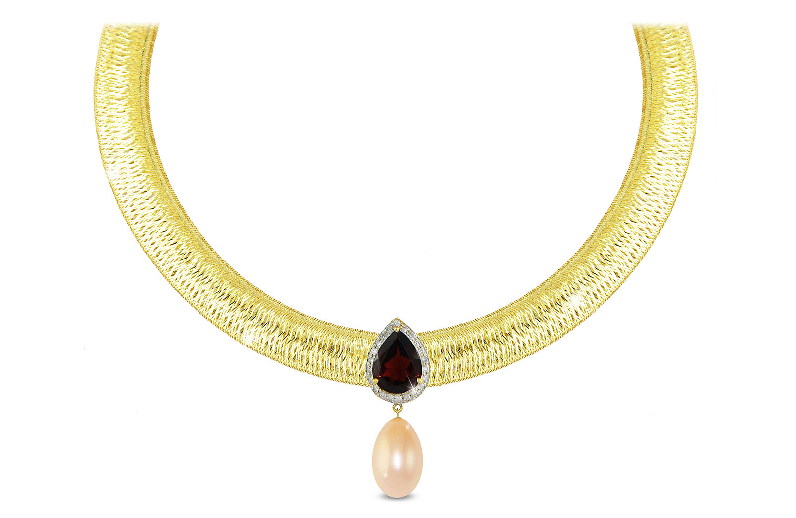 Vera Perla 18K Gold 0.12ct Diamonds, Garnet and 13mm Pink Pearl Necklace