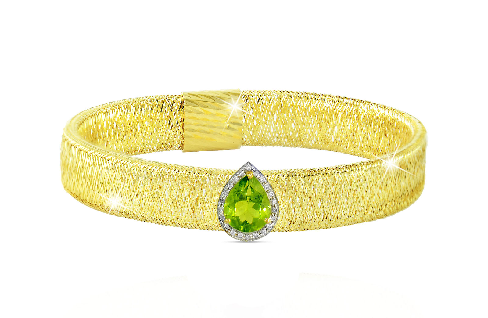 Vera Perla 18K Gold 0.12ct Diamonds, Peridot Mesh Bracelet