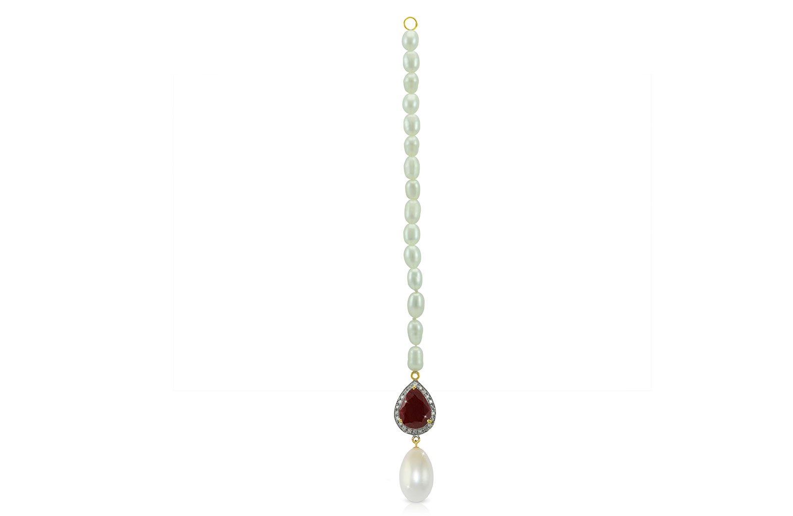 Vera Perla 18K Gold 0.12ct Diamonds, Royal Indian Ruby and 13mm  Head Piece