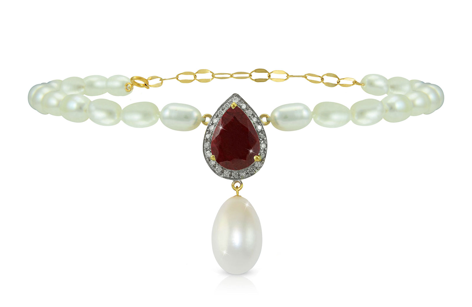Vera Perla 18K Gold 0.12ct Diamonds, Royal Indian Ruby and 13mm Pearl Bracelet