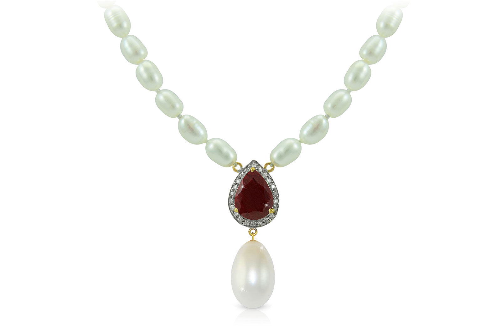 Vera Perla 18K Gold 0.12ct Diamonds, Royal Indian Ruby and 13mm Pearl Necklace