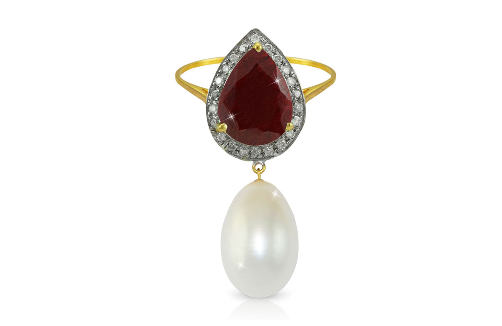 Vera Perla 18K Gold 0.12ct Diamonds, Royal Indian Ruby and 13mm Pearl Ring