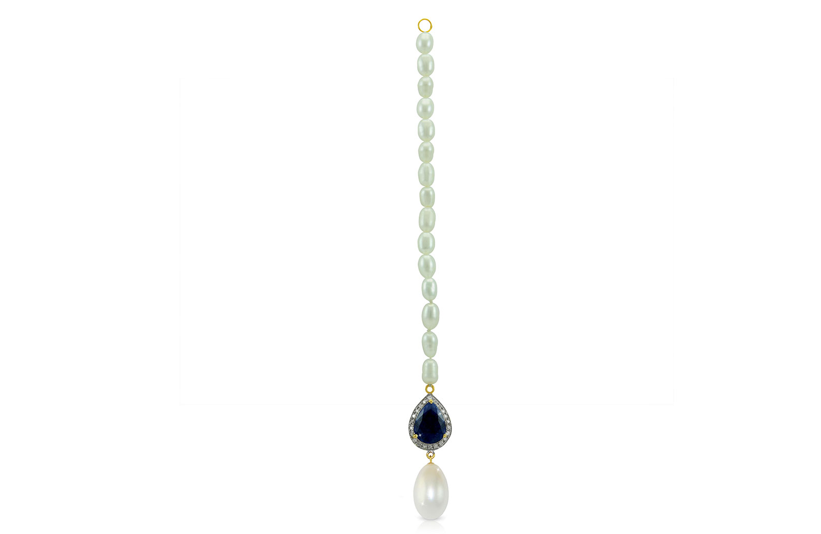 Vera Perla 18K Gold 0.12ct Diamonds, Royal Indian Sapphire and 13mm  Head Piece