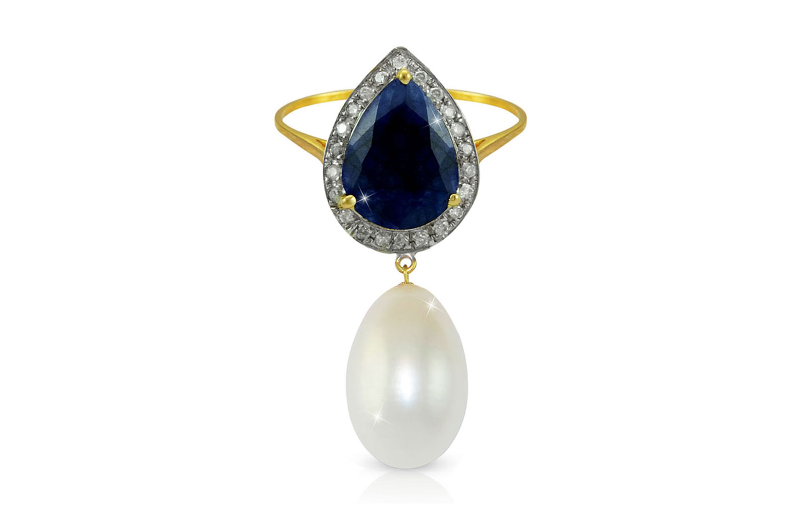 Vera Perla 18K Gold 0.12ct Diamonds, Royal Indian Sapphire and 13mm Pearl Ring