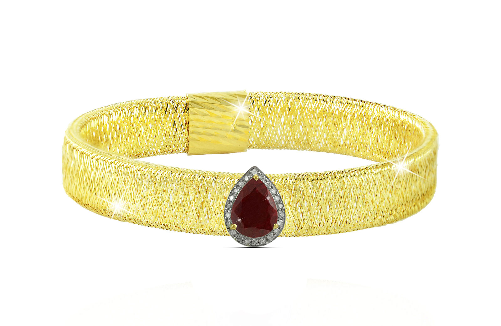 Vera Perla 18K Gold 0.12ct Diamonds, Ruby Mesh Bracelet