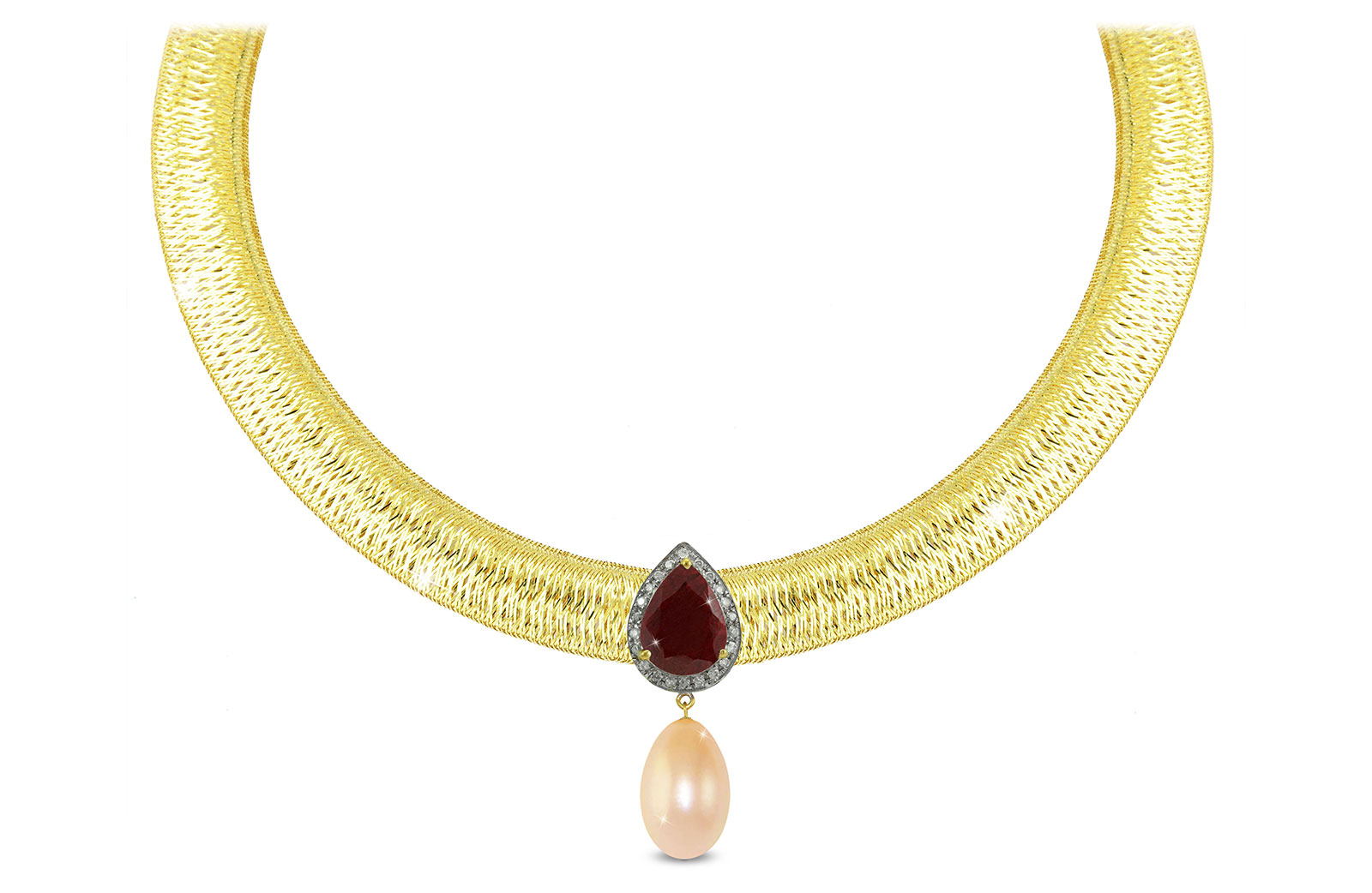 Vera Perla 18K Gold 0.12ct Diamonds, Ruby and 13mm Pink Pearl Necklace