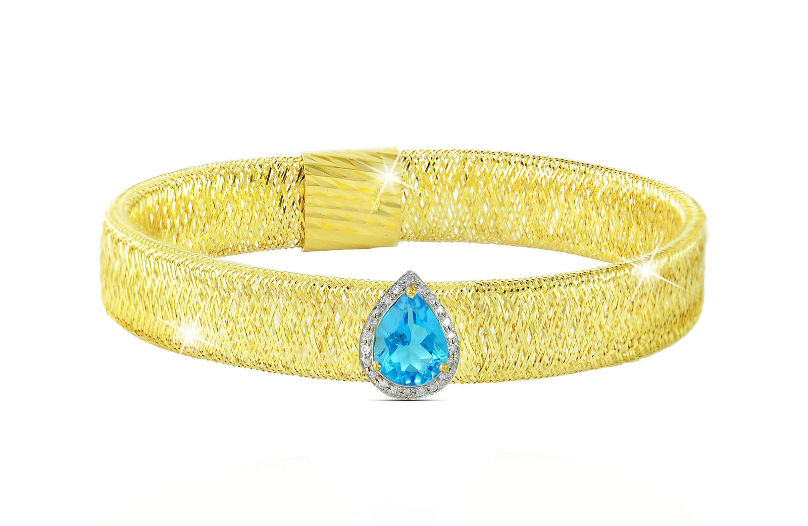 Vera Perla 18K Gold 0.12ct Diamonds, Topaz Mesh Bracelet