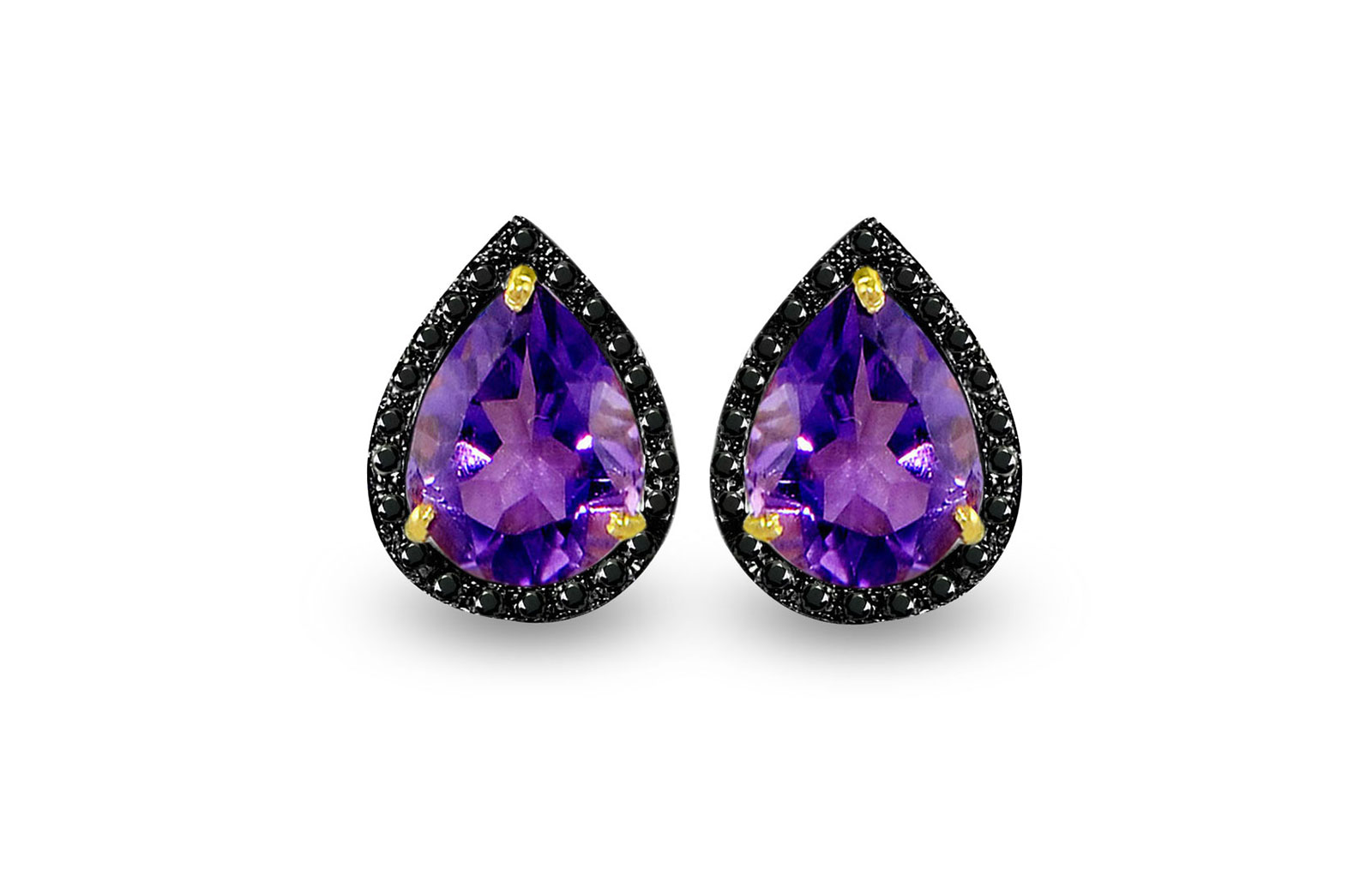 Vera Perla 18K Gold 0.24ct Black Diamonds, Amethyst Earrings