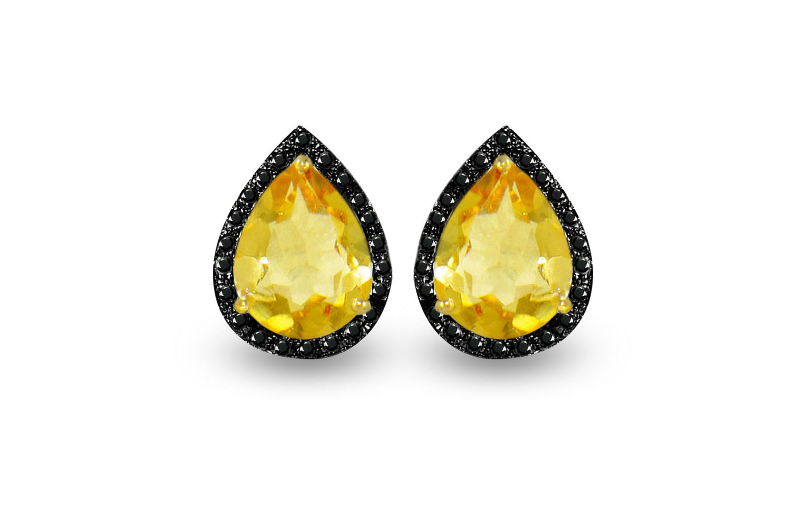 Vera Perla 18K Gold 0.24ct Black Diamonds, Citrine Earrings