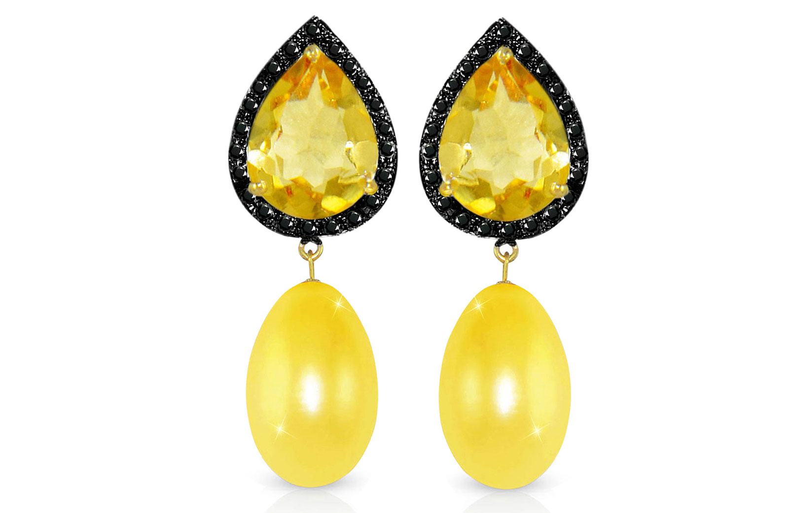 Vera Perla 18K Gold 0.24ct Black Diamonds, Citrine and 13mm Golden Pearl Earrings