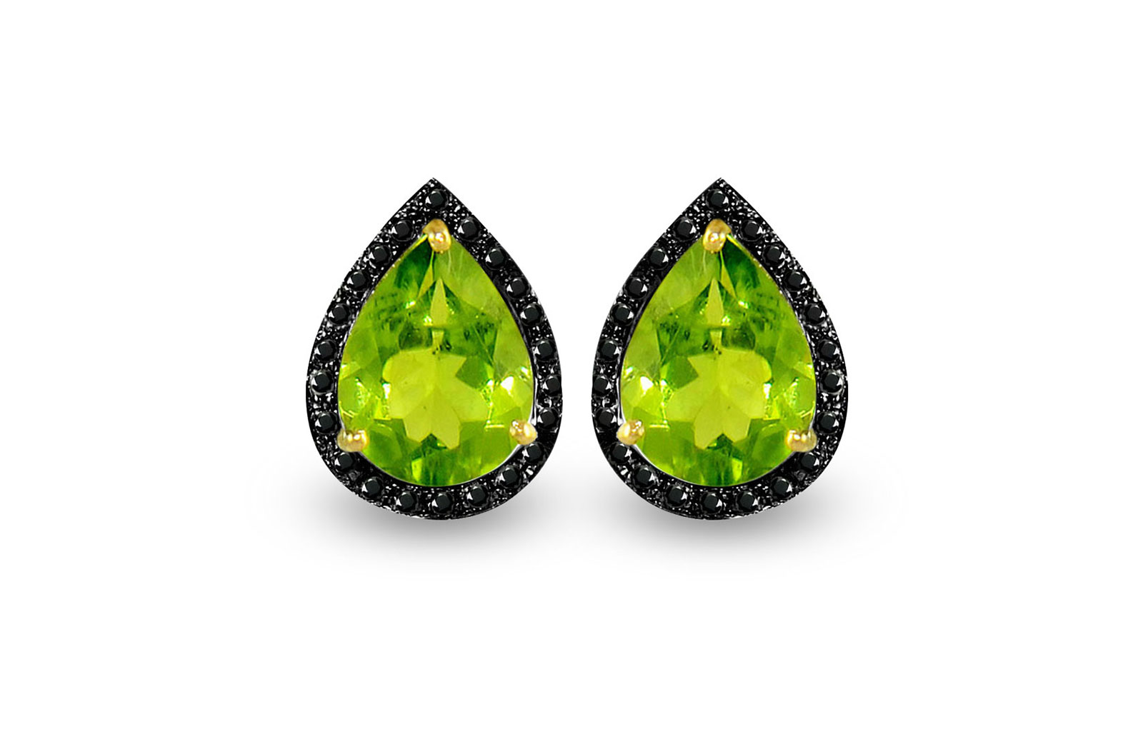 Vera Perla 18K Gold 0.24ct Black Diamonds, Peridot Earrings