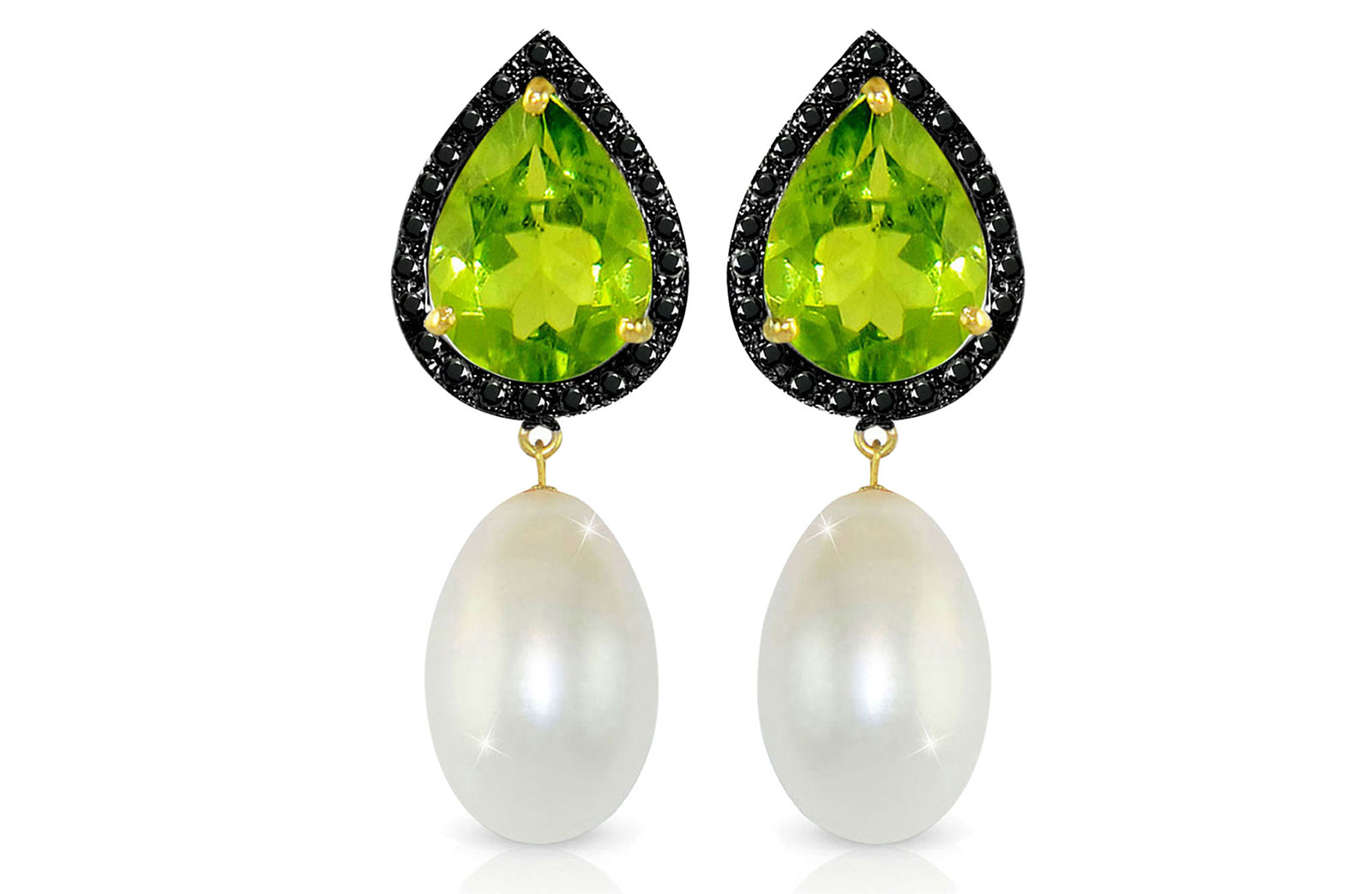 Vera Perla 18K Gold 0.24ct Black Diamonds, Peridot and 13mm White Pearl Earrings