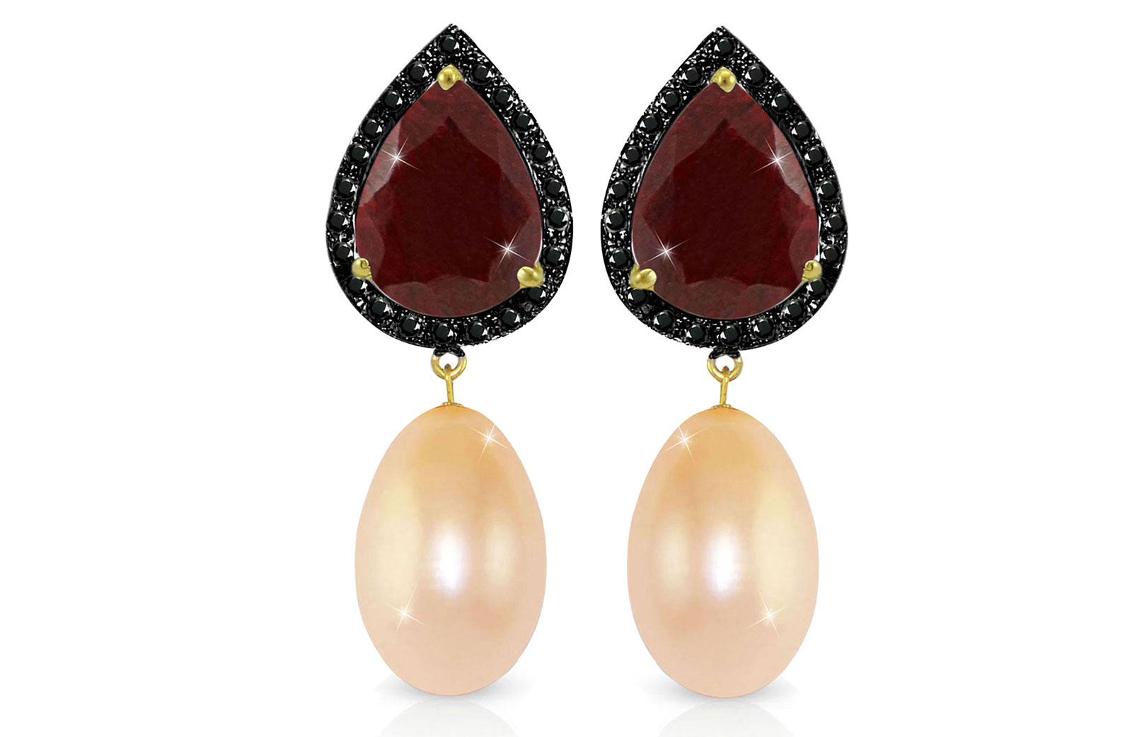 Vera Perla 18K Gold 0.24ct Black Diamonds, Ruby and 13mm Pink Pearl Earrings