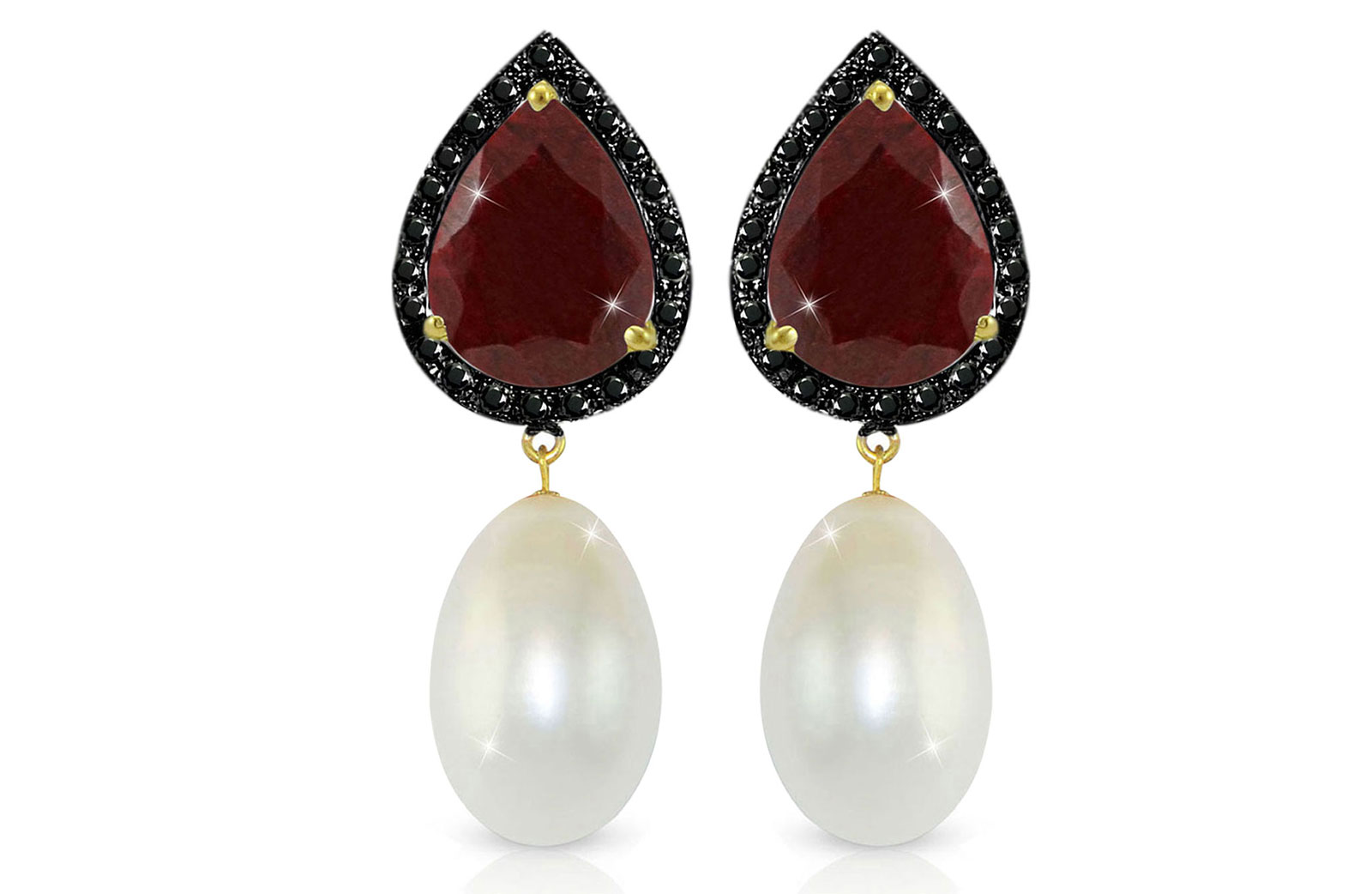 Vera Perla 18K Gold 0.24ct Black Diamonds, Ruby and 13mm White Pearl Earrings