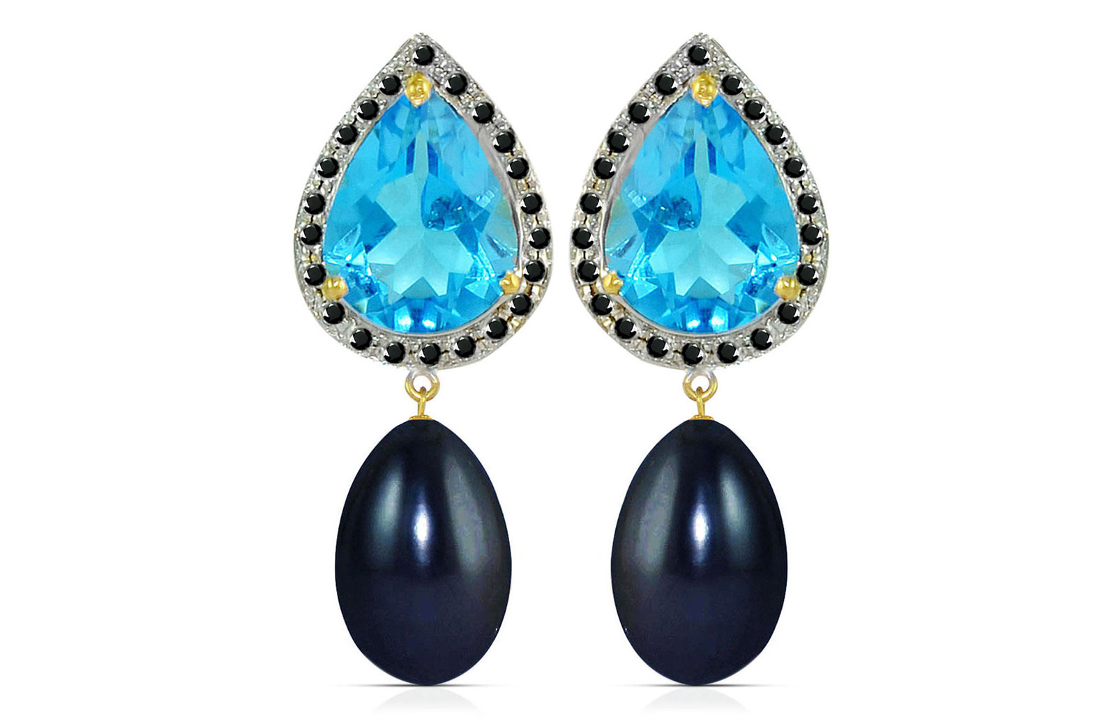 Vera Perla 18K Gold 0.24ct Black Diamonds, Topaz and 13mm Black Pearl Earrings
