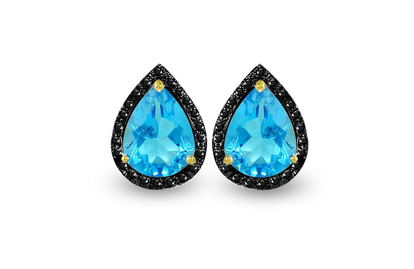 Vera Perla 18K Gold 0.24ct Black Diamonds,Topaz Earrings