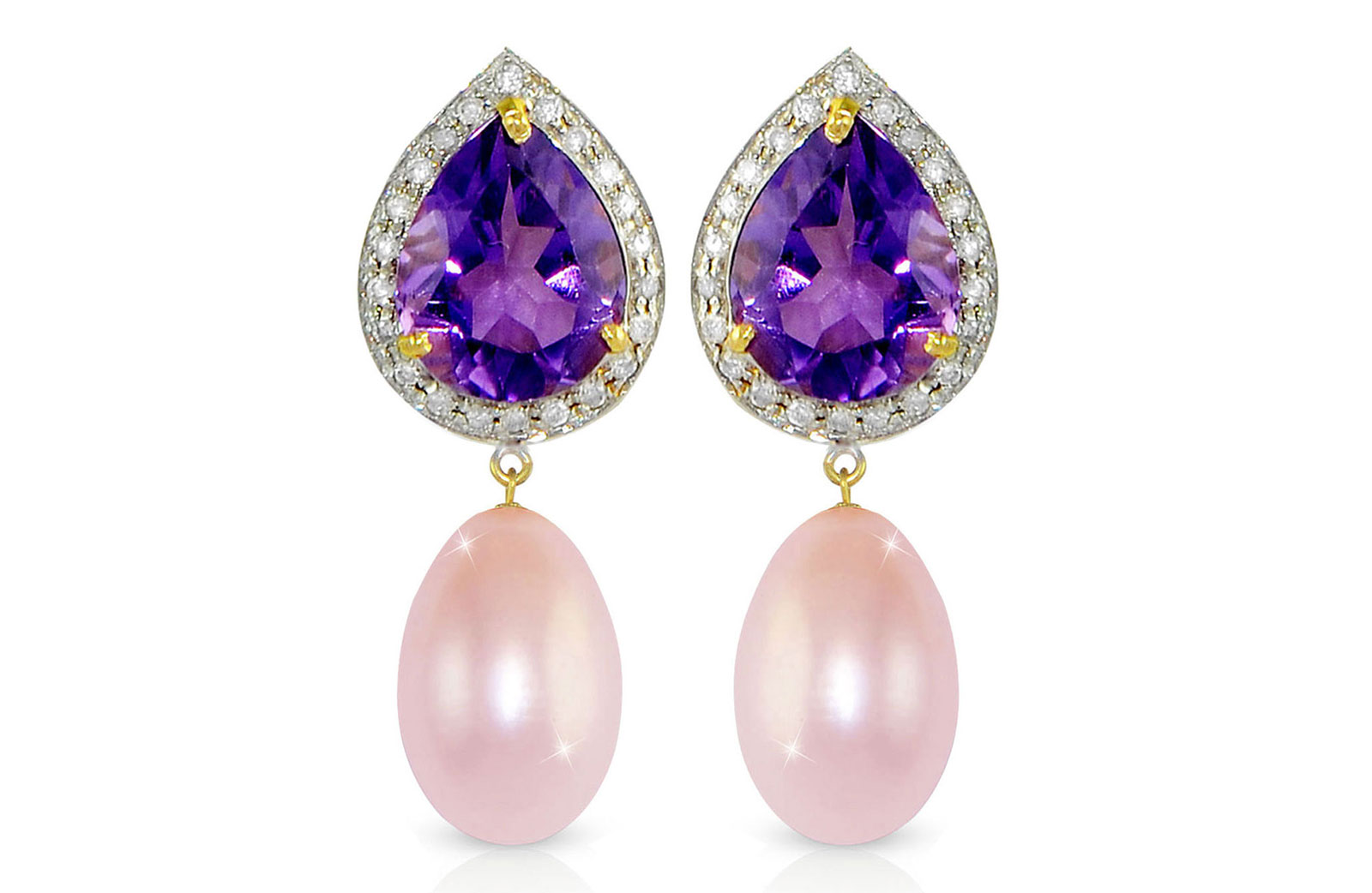 Vera Perla 18K Gold 0.24ct Diamonds, Amethyst and 13mm Purple Pearl Earrings