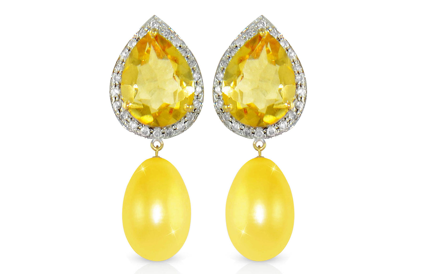 Vera Perla 18K Gold 0.24ct Diamonds, Citrine and 13mm Golden Pearl Earrings