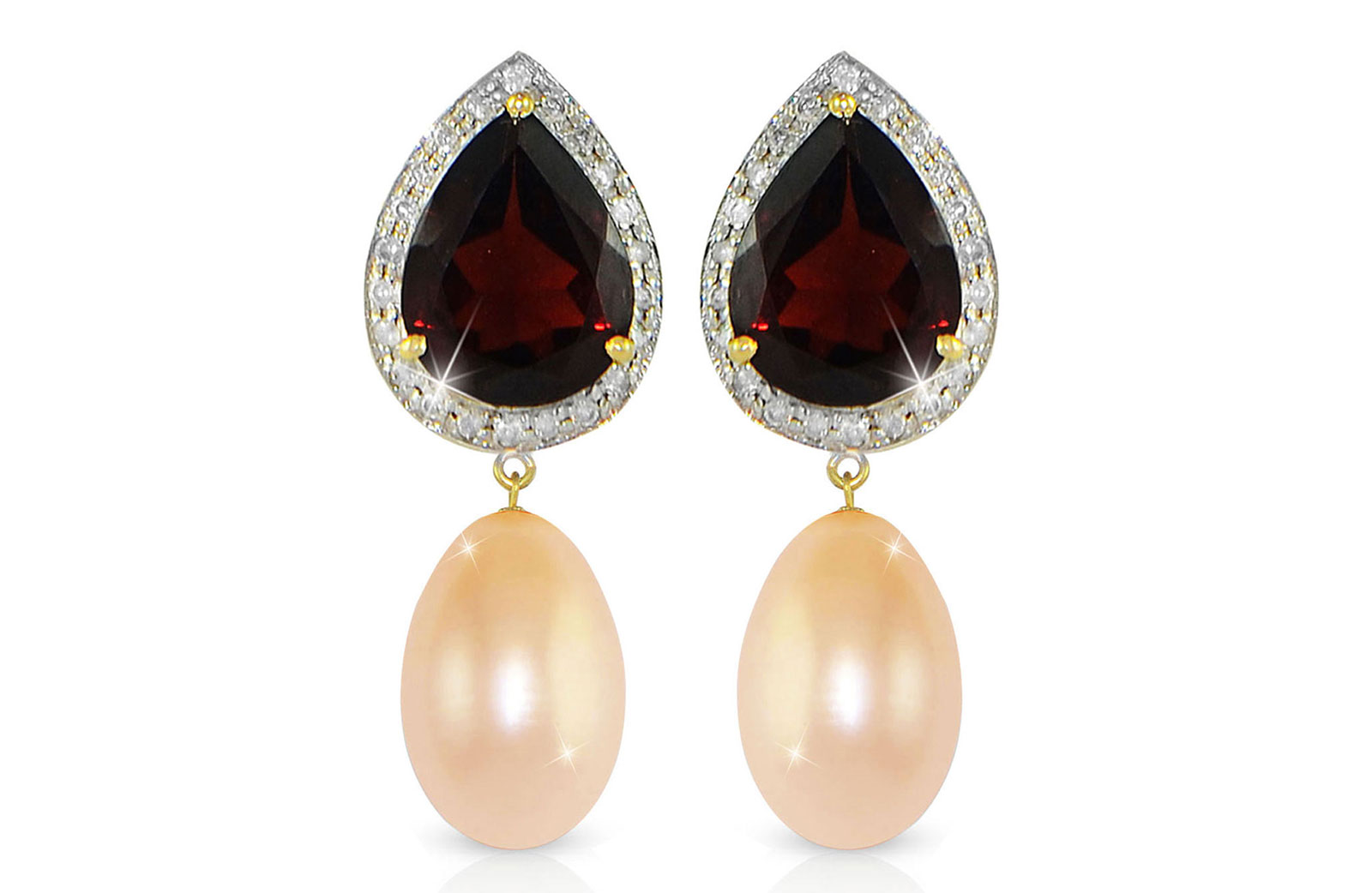 Vera Perla 18K Gold 0.24ct Diamonds, Garnet and 13mm Pink Pearl Earrings