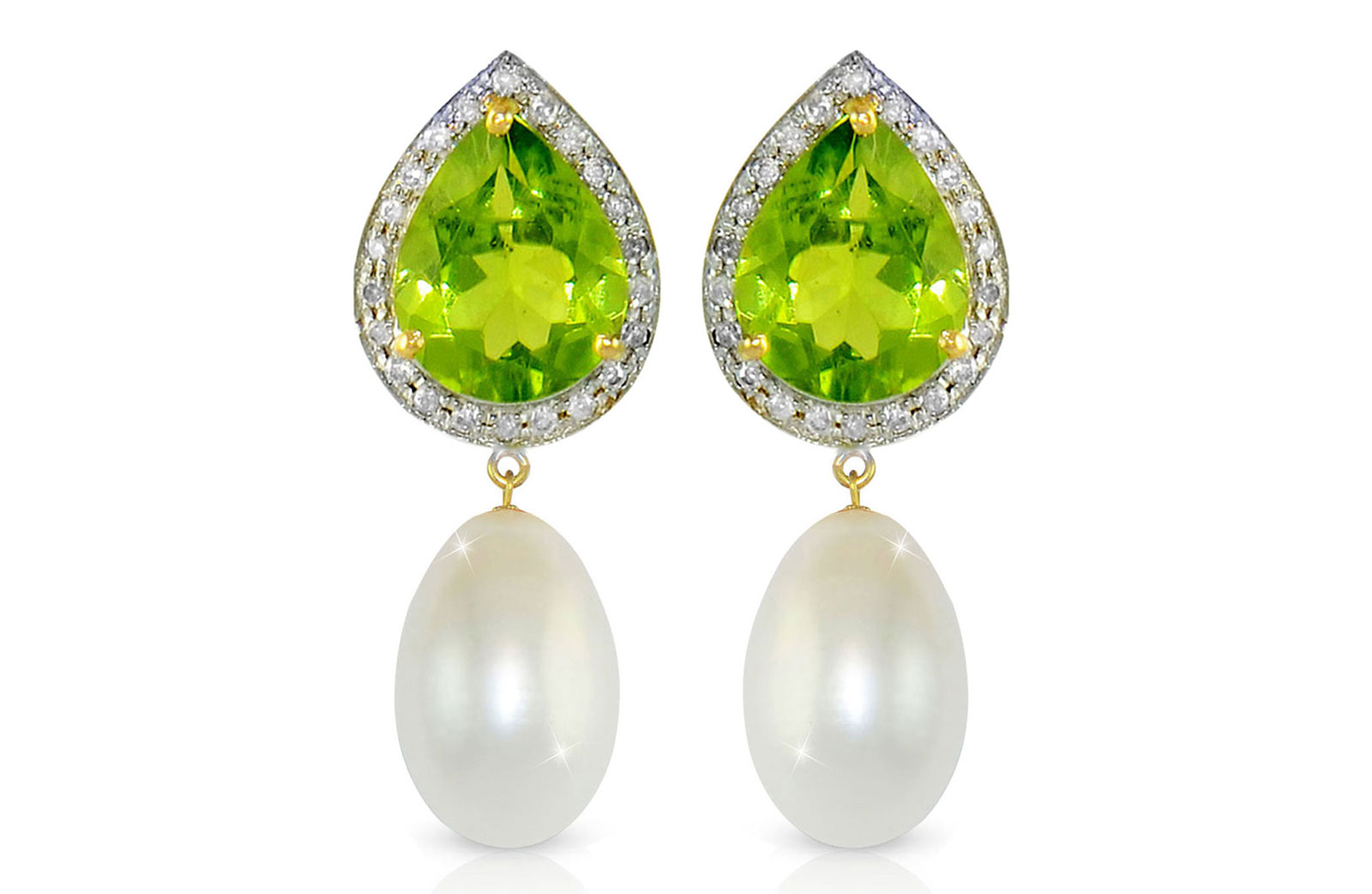 Vera Perla 18K Gold 0.24ct Diamonds, Peridot and 13mm White Pearl Earrings