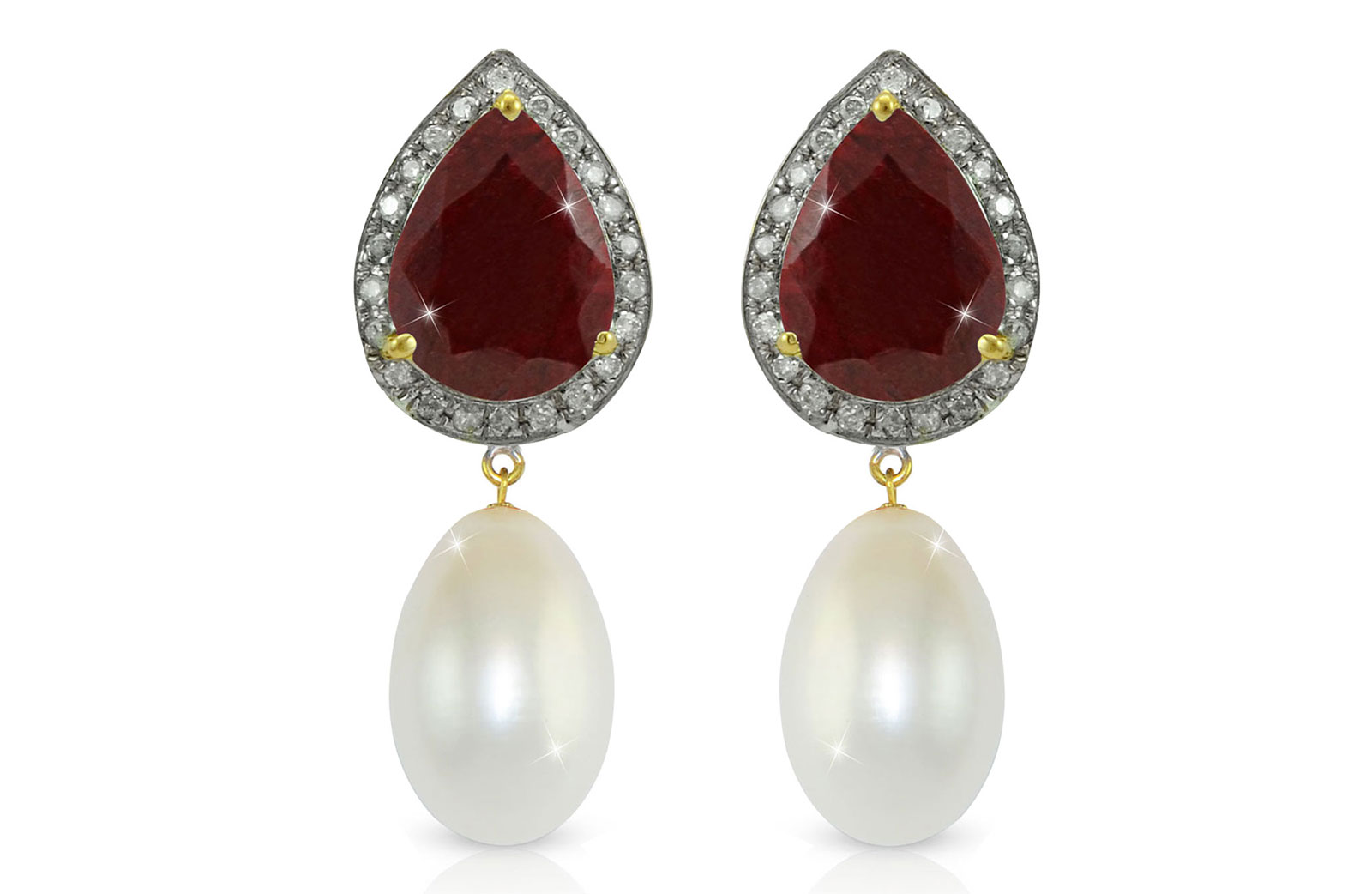Vera Perla 18K Gold 0.24ct Diamonds, Royal Indian Ruby and 13mm Pearl Earrings