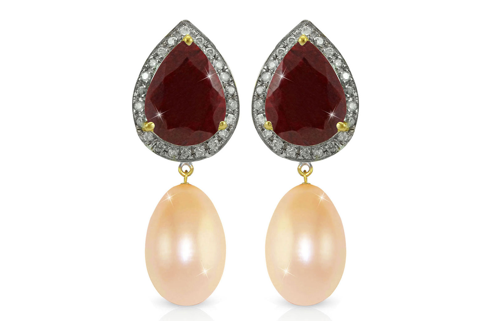 Vera Perla 18K Gold 0.24ct Diamonds, Ruby and 13mm Pink Pearl Earrings