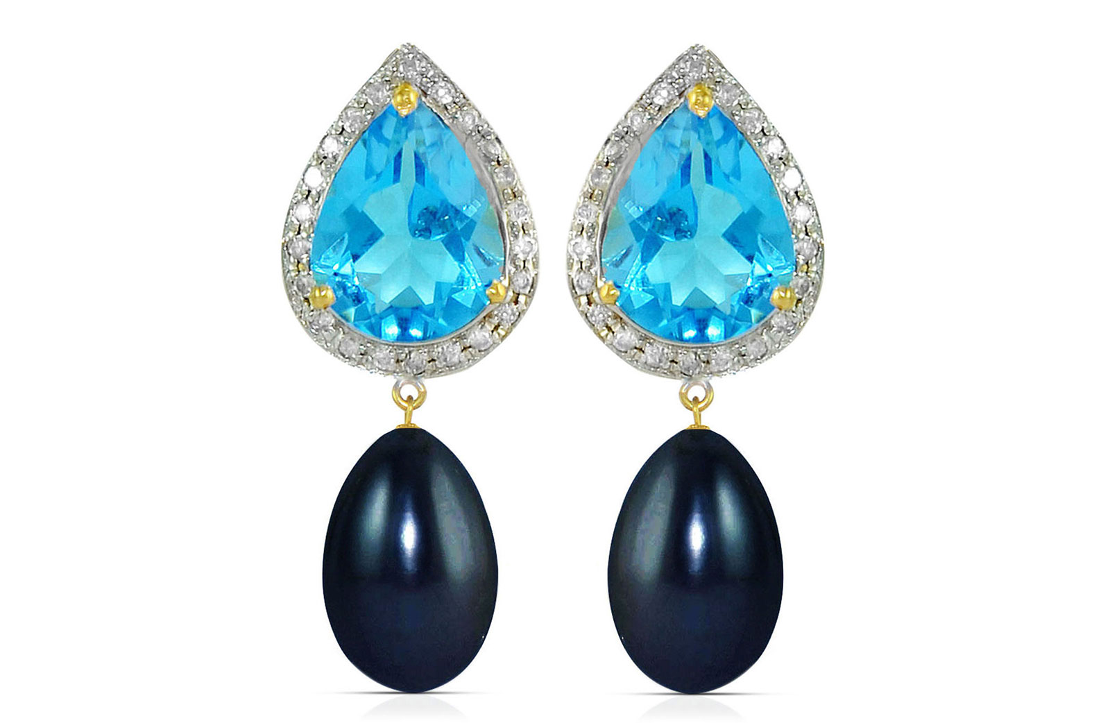 Vera Perla 18K Gold 0.24ct Diamonds, Topaz and 13mm Black Pearl Earrings