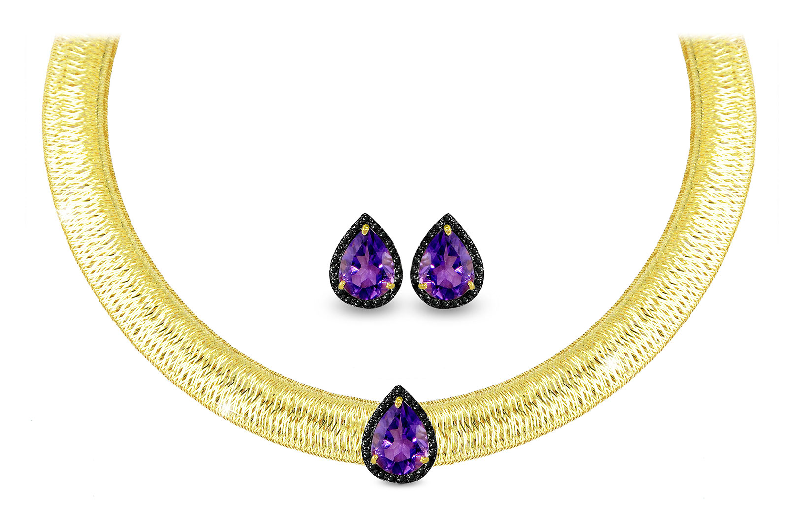 Vera Perla 18K Gold 0.36ct  Black Diamonds, Amethyst Jewelry Set - 2 pcs.