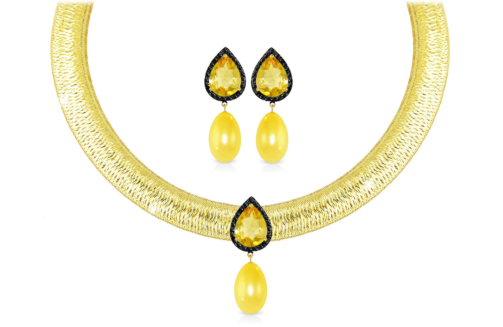 Vera Perla 18K Gold 0.36ct Black Diamonds, Citrine and 13mm Golden Pearl Jewelry Set - 2 pcs.