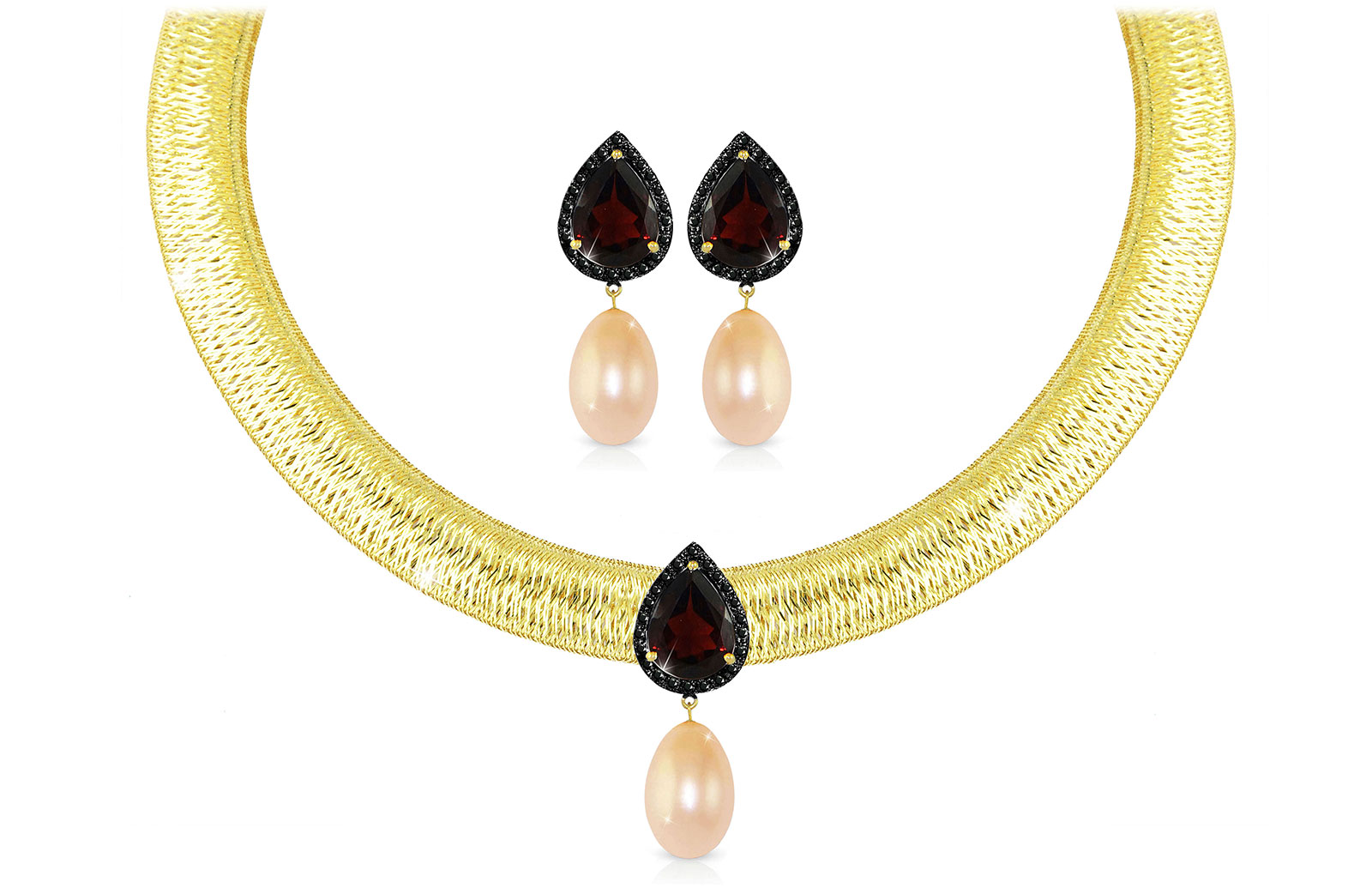 Vera Perla 18K Gold 0.36ct Black Diamonds, Garnet and 13mm Pink Pearl Jewelry Set - 2 pcs.