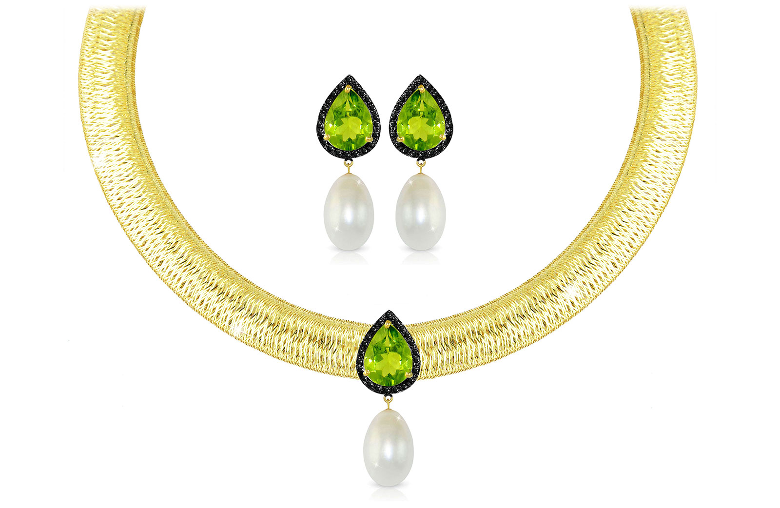 Vera Perla 18K Gold 0.36ct Black Diamonds, Peridot and 13mm White Pearl Jewelry Set - 2 pcs.