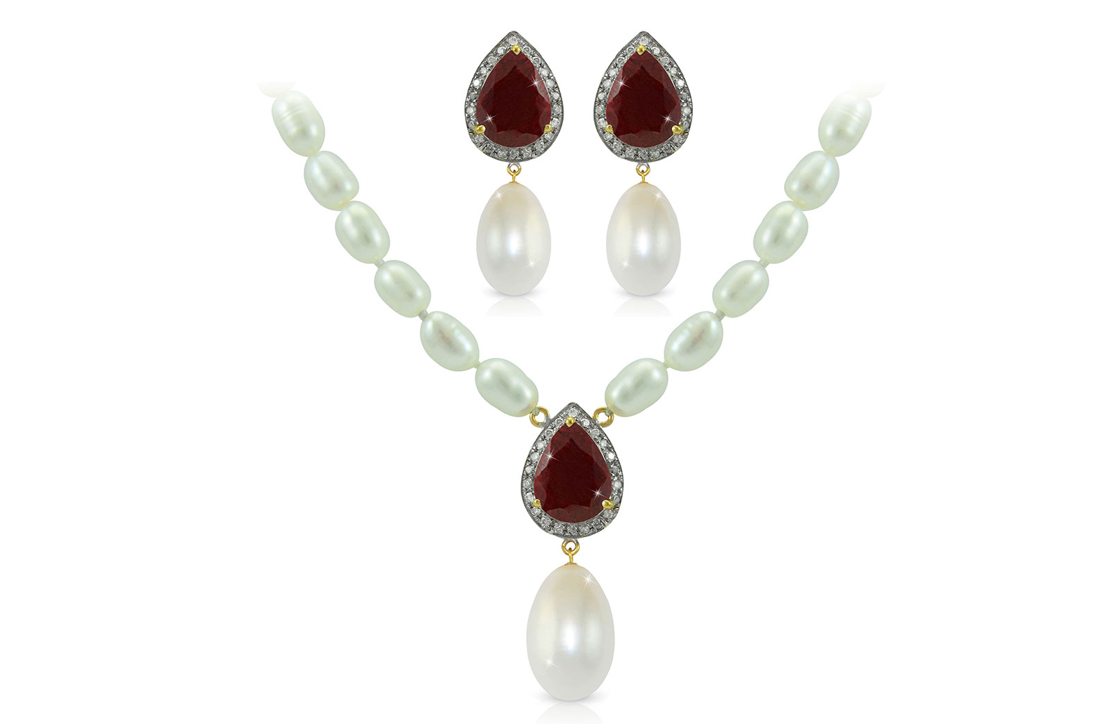 Vera Perla 18K Gold 0.36ct Diamonds, Royal Indian Ruby and 13mm Pearl 2 pcs set