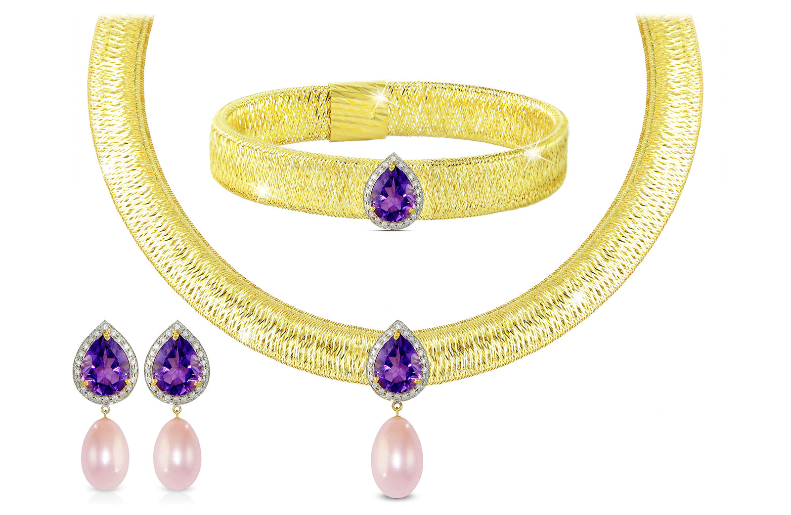 Vera Perla 18K Gold 0.48ct Diamonds, Amethyst and 13mm Purple Pearl Jewelry Set - 3 pcs.