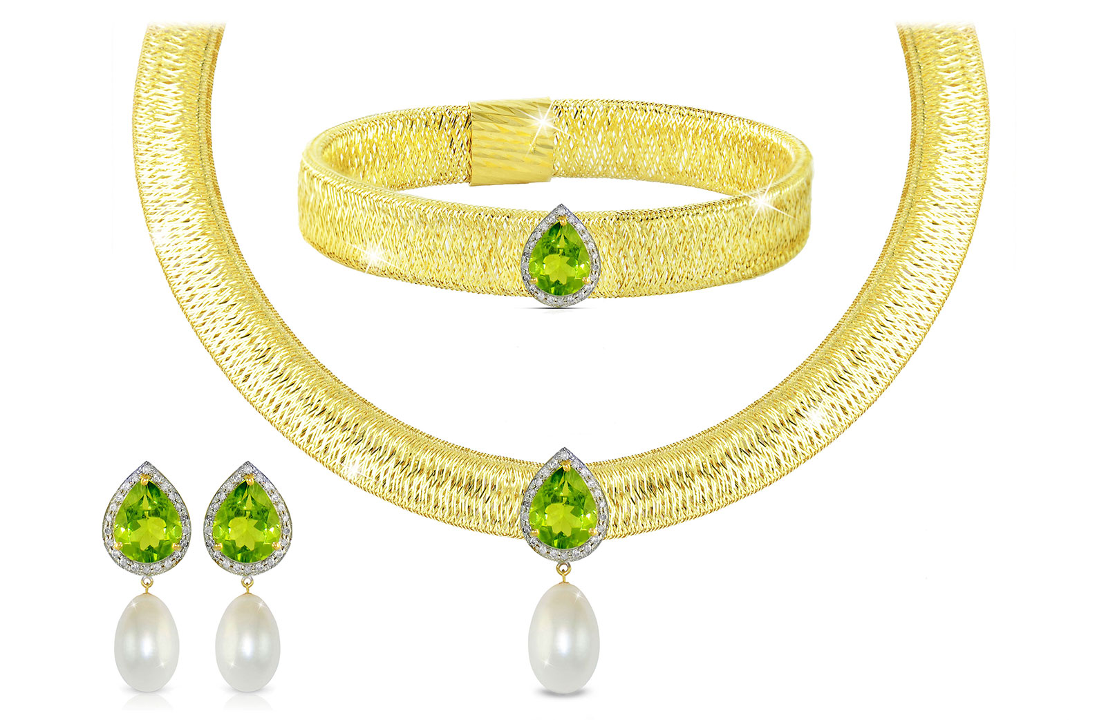 Vera Perla 18K Gold 0.48ct Diamonds, Peridot and 13mm White Pearl Jewelry Set - 3 pcs.
