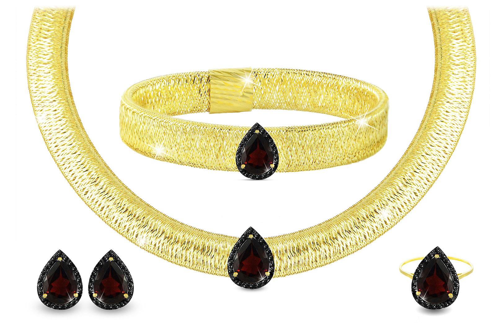 Vera Perla 18K Gold 0.60ct Black Diamonds, Garnet Jewelry Set - 4 pcs.