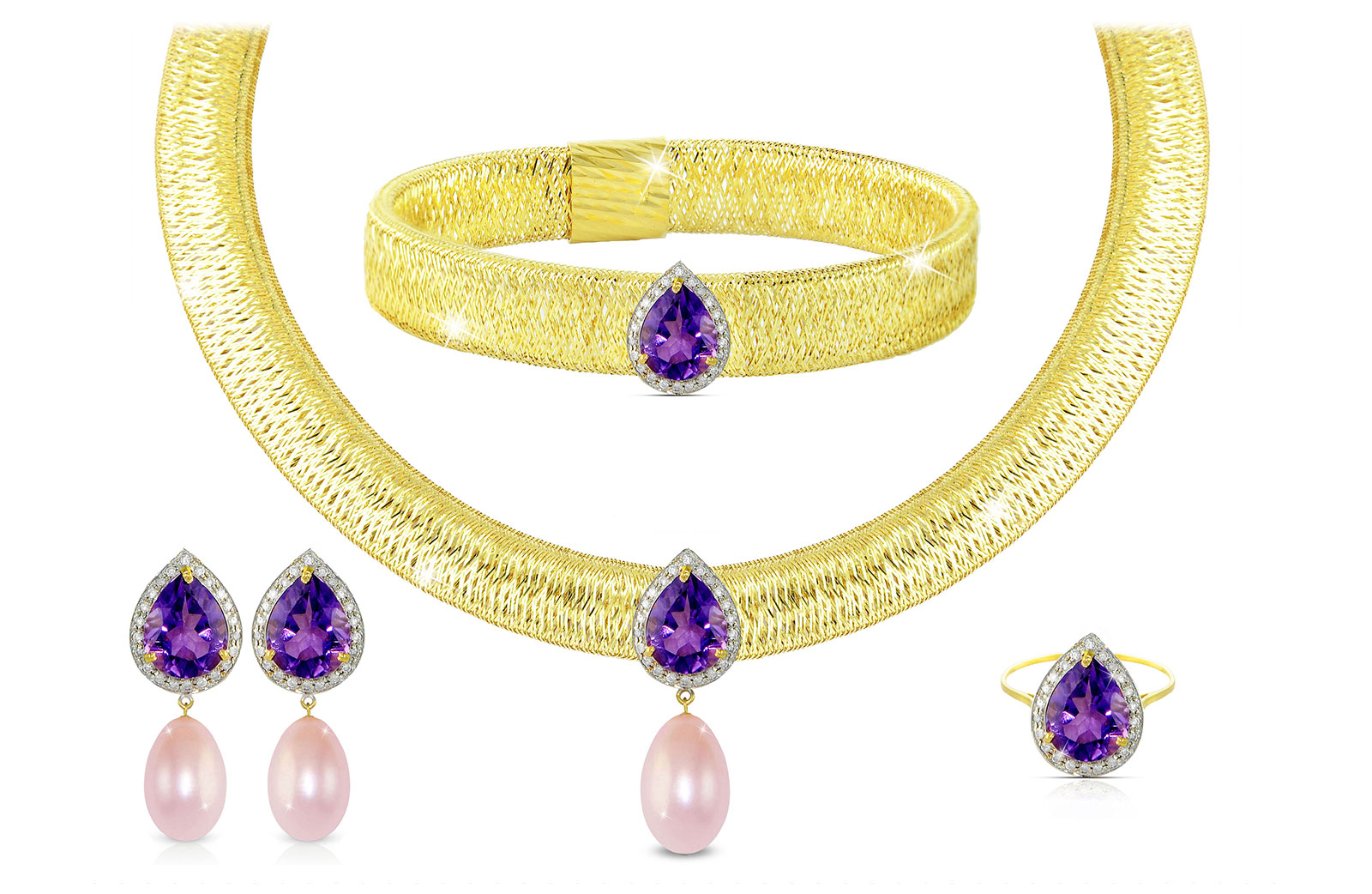 Vera Perla 18K Gold 0.60ct Diamonds, Amethyst and 13mm Purple Pearl Jewelry Set - 4 pcs.