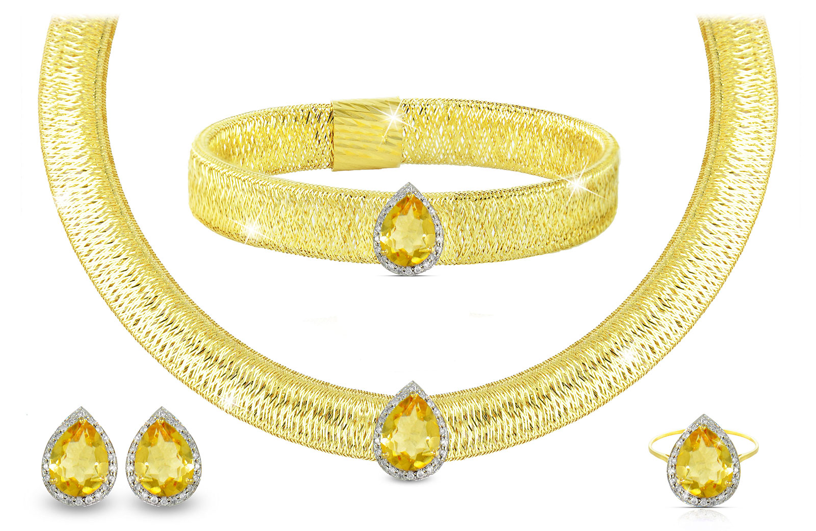 Vera Perla 18K Gold 0.60ct Diamonds, Citrine  Jewelry Set - 4 pcs.