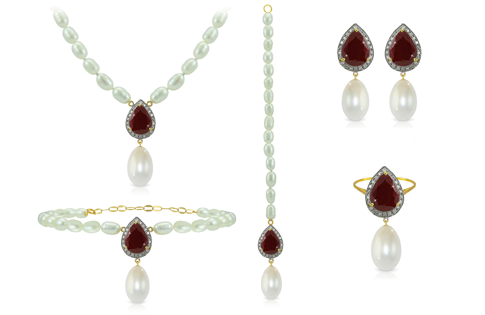 Vera Perla 18K Gold 0.72ct Diamonds, Royal Indian Ruby and 13mm Pearl  5 pcs set