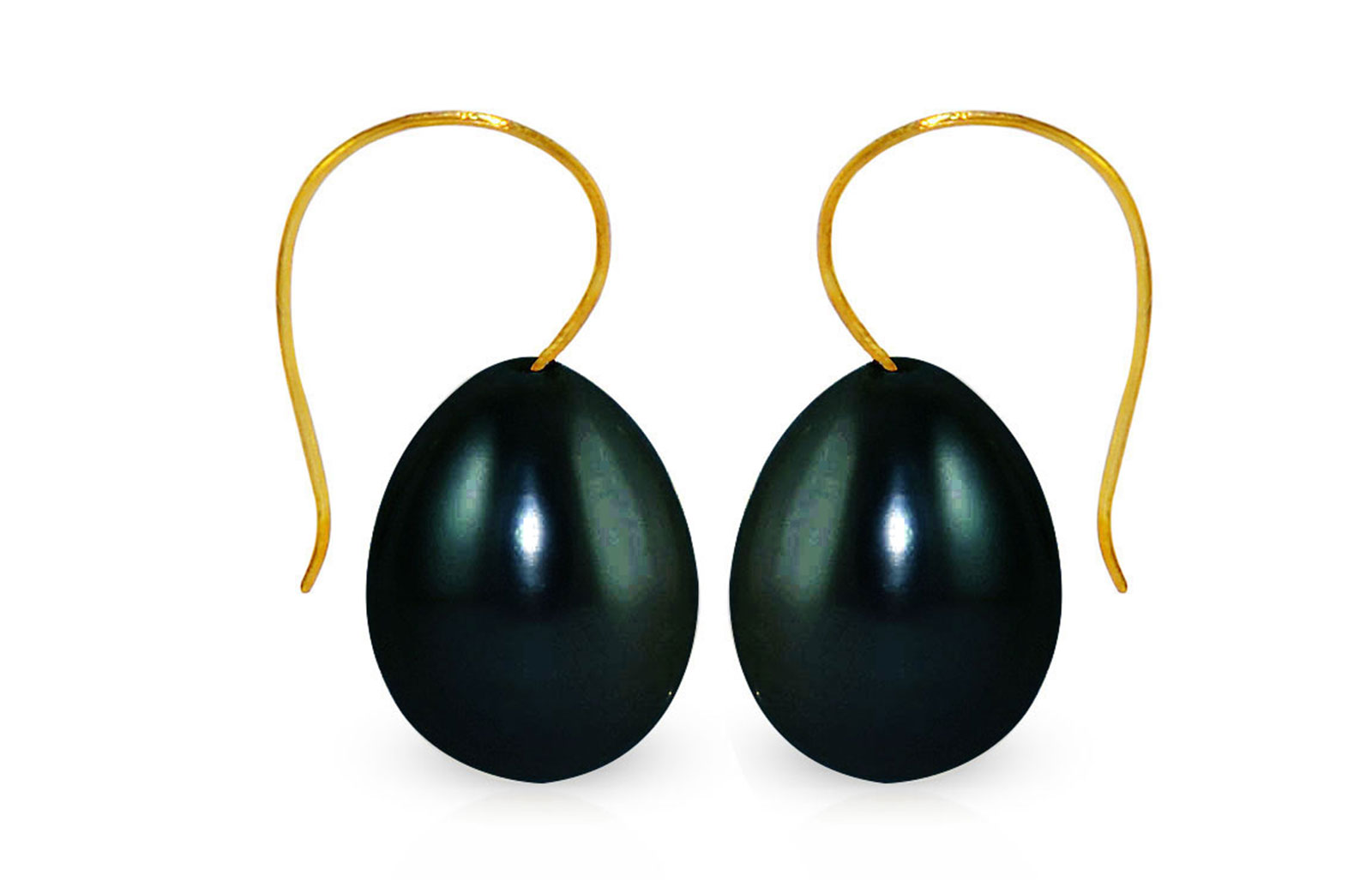 Vera Perla 18K Yellow Gold 10mm Drop Black Pearl Earrings