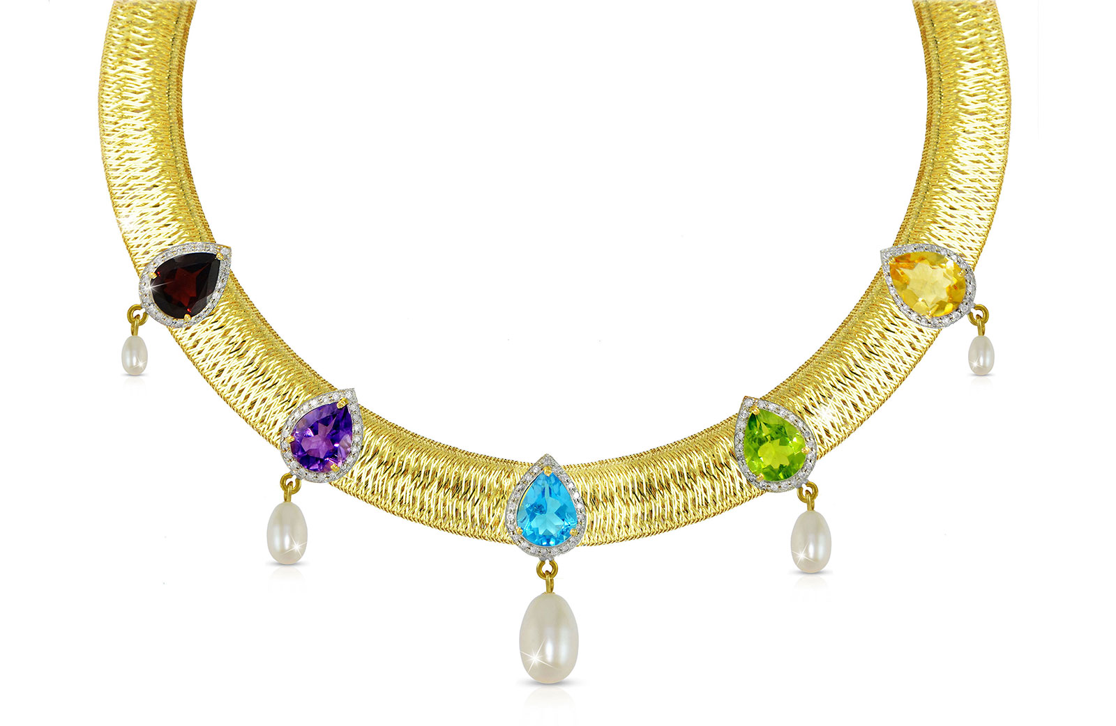 Vera Perla 18k Solid Gold 0.64Ct Genuine Diamonds and Multi-Gemstones with 7mm-13mm Pearls Mesh Necklace