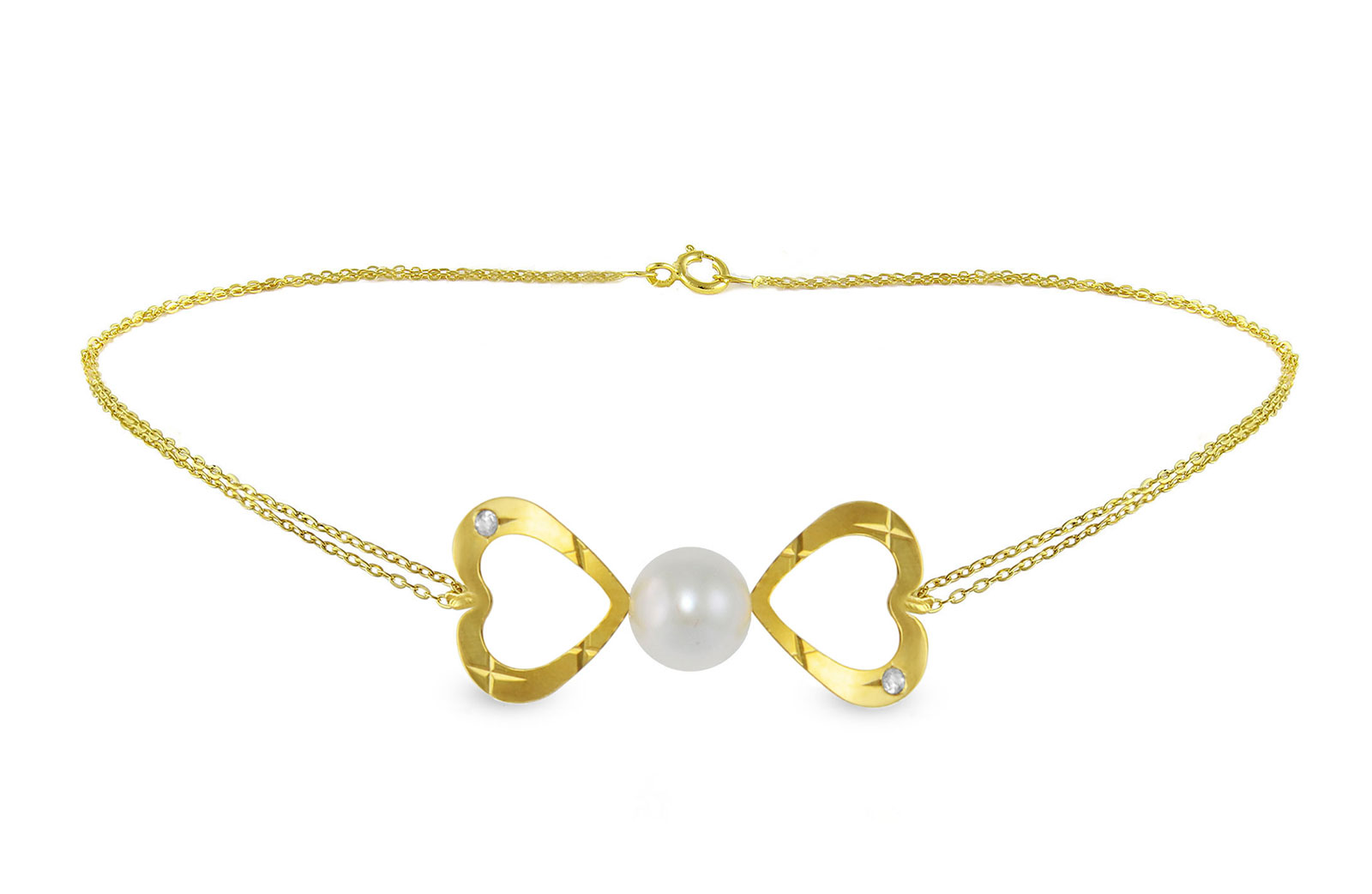 Vera  Perla 18k Gold, 0.02Cts Diamonds, Pearl Bow Hearts Double Link Bracelet