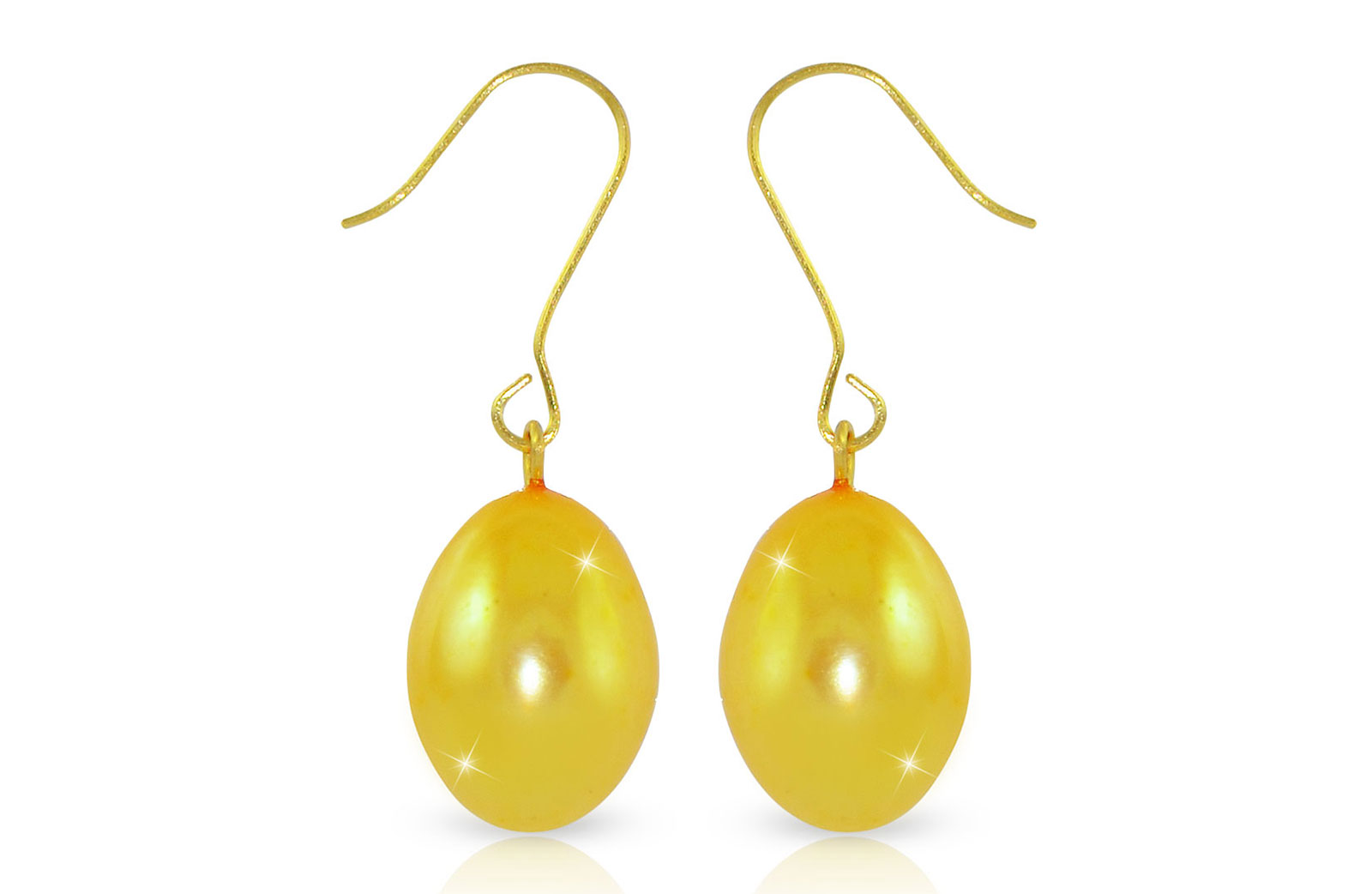 Vera Perla  9-10mm Big Golden Baroque Pearls Earrings in 18K Gold