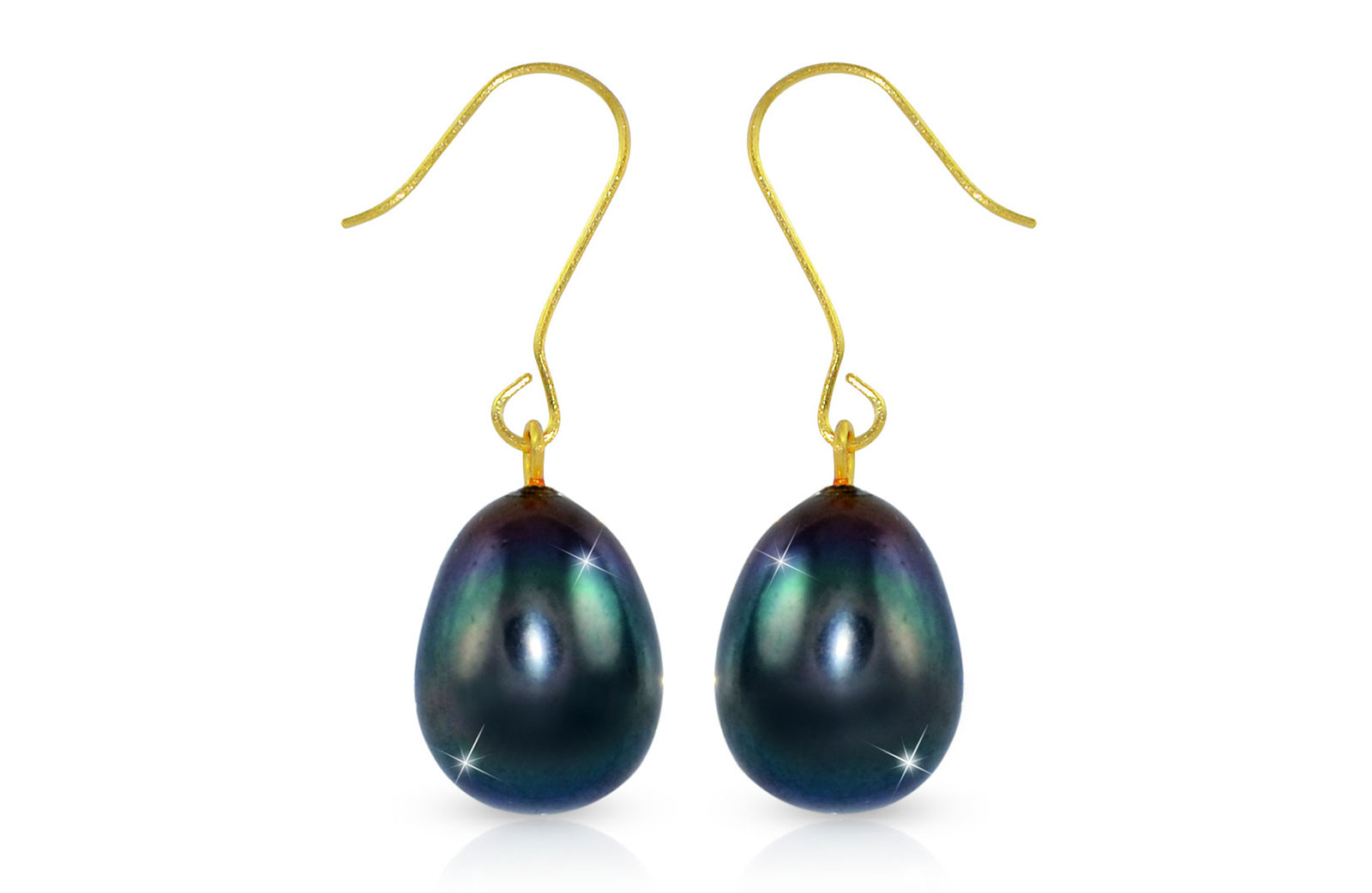 Vera Perla  9-10mm Big Peacock/Black Baroque Pearls Earrings in 18K Gold