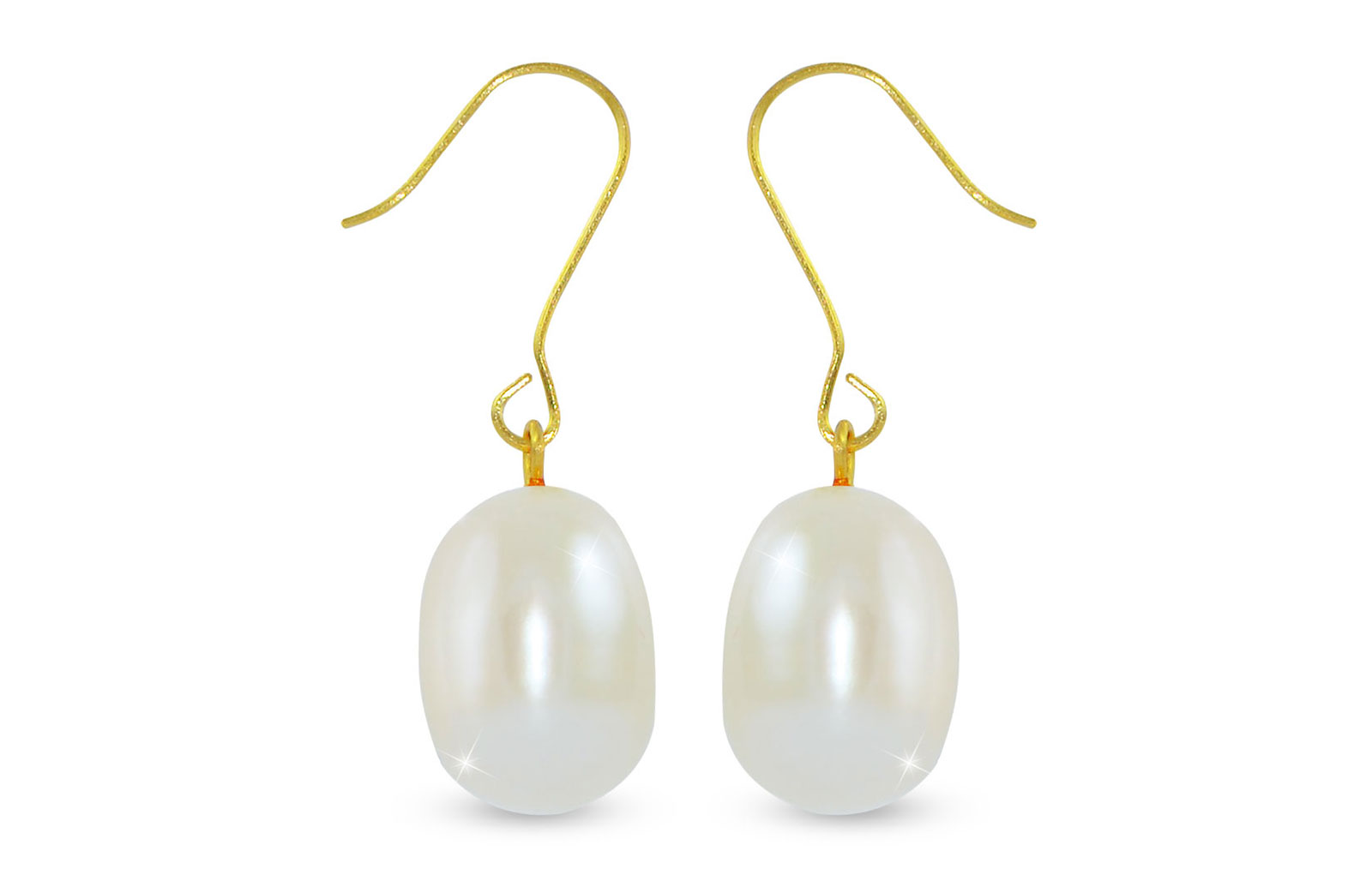 Vera Perla  9-10mm Big White Baroque Pearls Earrings in 18K Gold