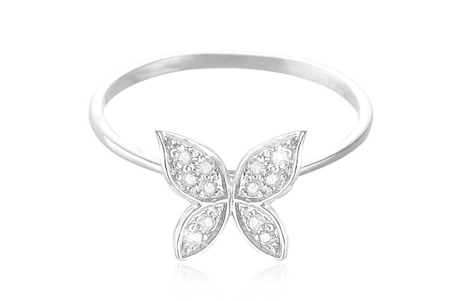 Vera Perla 0.06Cts Diamonds, 18K White Gold Butterfly Ring