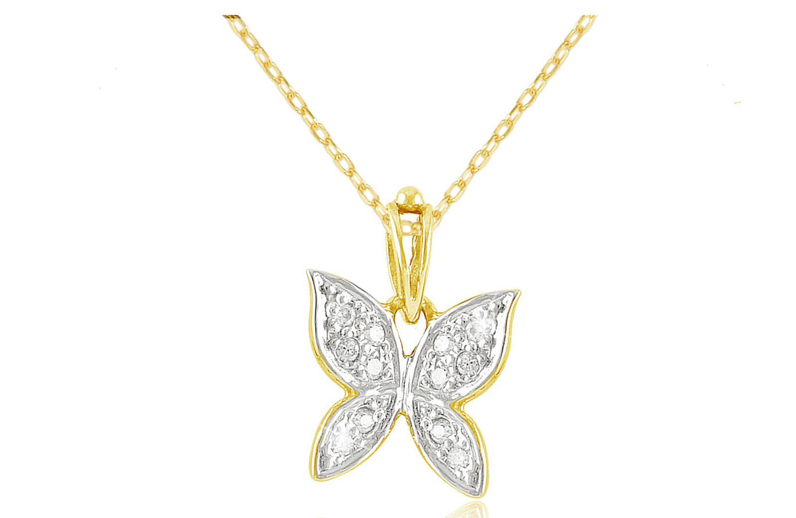 Vera Perla 0.06Cts Diamonds, 18K Yellow Gold Butterfly Necklace