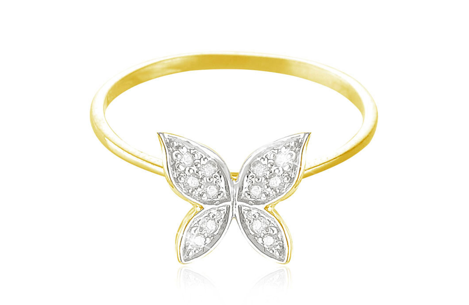 Vera Perla 0.06Cts Diamonds, 18K Yellow Gold Butterfly Ring