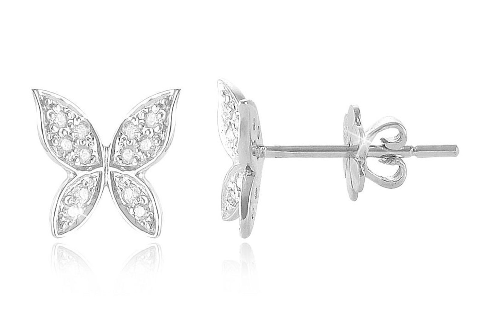 Vera Perla 0.12Cts Diamonds, 18K White Gold Butterfly Earrings