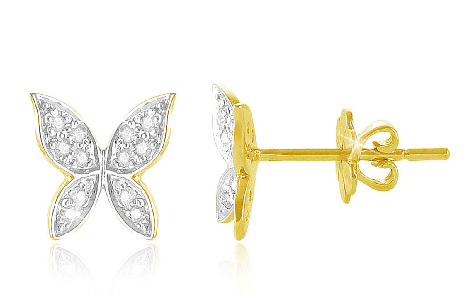 Vera Perla 0.12Cts Diamonds, 18K Yellow Gold Butterfly Earrings