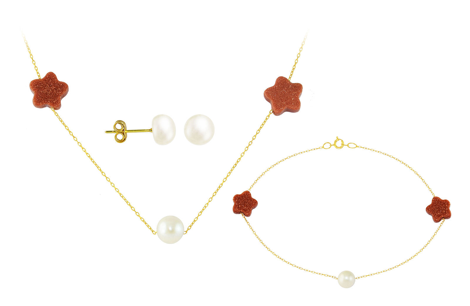 Vera Perla 10K  Solid Gold Star Sunstones and Pearl Necklace and Bracelet + 10K  Gold 7mm Pearl Earrings